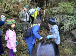 Five Acre School students help restore a disturbed area at Dungeness County Park