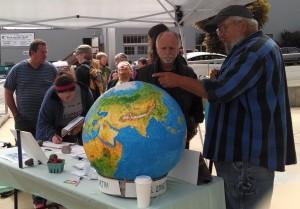 Tabling globe Jim Waddell