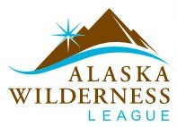 Alaska Wilderness League logo. Mountains over text