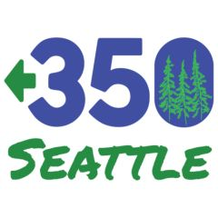 350.org Seattle. Blue and green with trees.