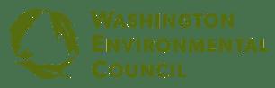 Washinton Environmental Council logo banner. Circle of fish, leaf, bird.