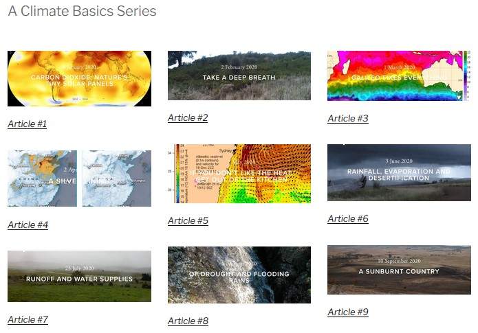 A Climate Basic Series. Thumbnail images of the 9 basic examinations of the climate. Link to the series.