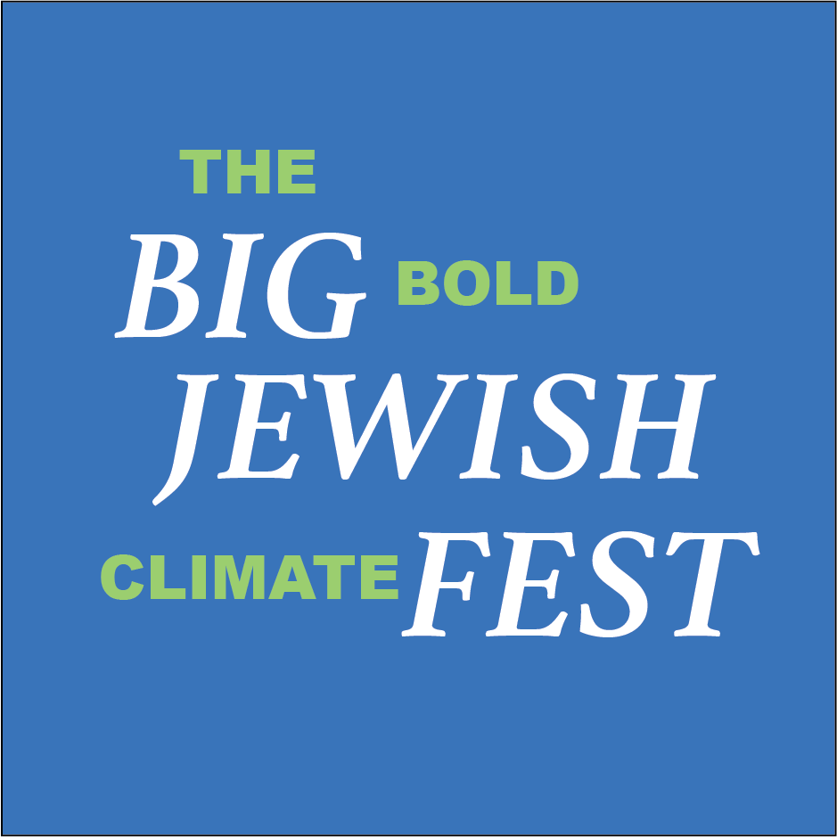The Big Bold Jewish Climate Fest logo. Words on blue square.