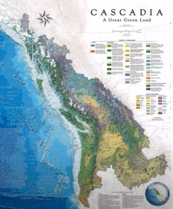 Map of Cascadia Bioregion from Alaska to Northern California and west to the Rocky Mountains.