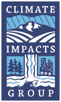 climate impacts group logo. Blue backed land and water.