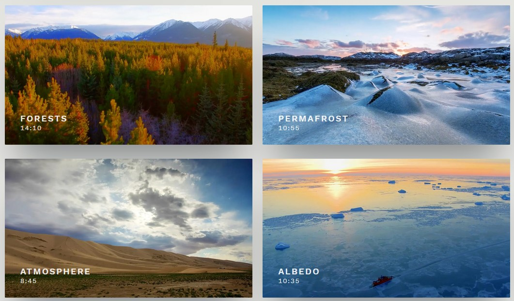 Series of five short films, learn why natural warming loops have scientists alarmed. Thumbnails of the films.