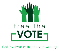 Free the Vote. Get invloved at freethevotewa.org. Green hands raised.