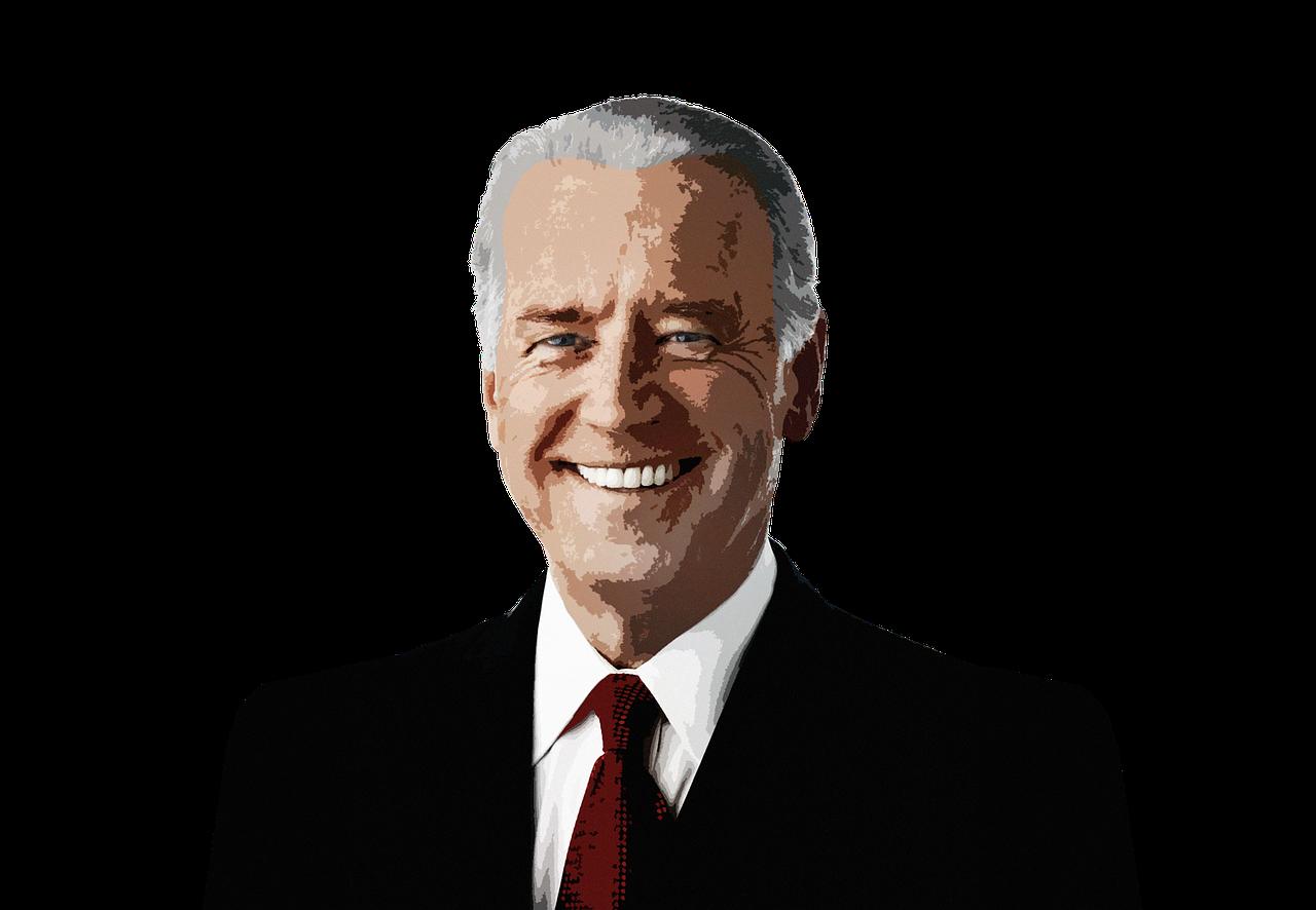 Posterized bust of a smiling Joe Biden.