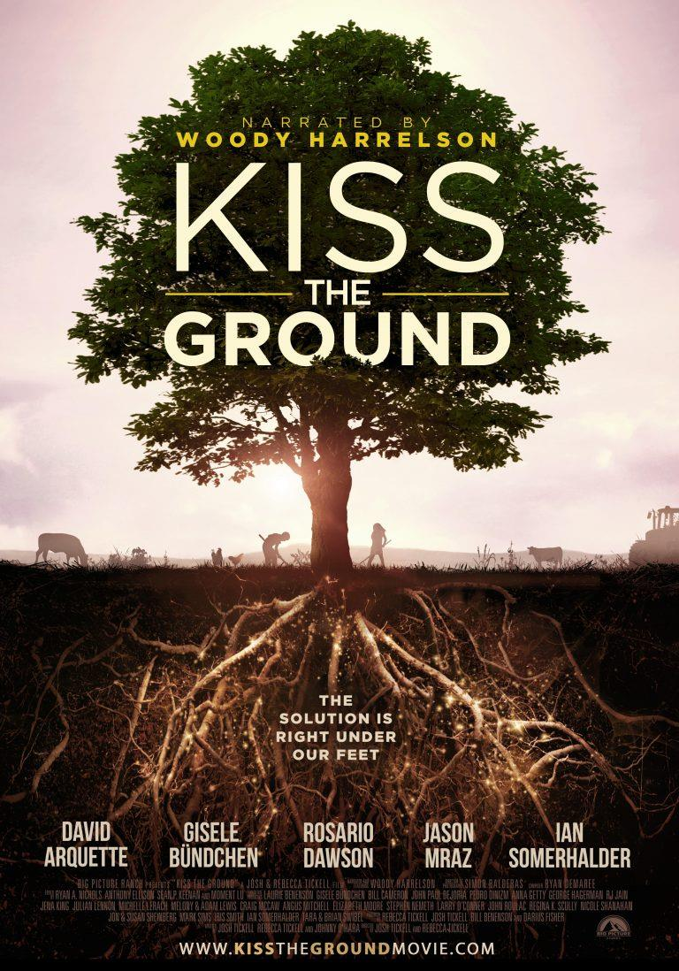 Kiss the Ground Movie Poster. Profile showing tree and roots as equals.