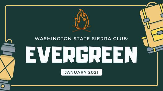 Washington State Evergreen January 2021. Lantern, Campfire, Backpack.