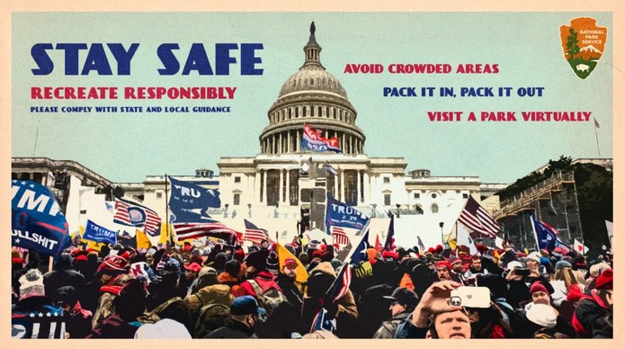 U.S. Capitol with Trump throng as antique Park Service poster, admonishing to stay safe and recreate responsibly.