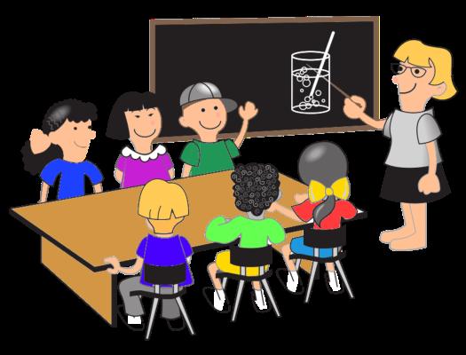 Cartoon classroom. Six students & teacher.