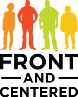 Front and Centered logo. Four common guys in earth colors.