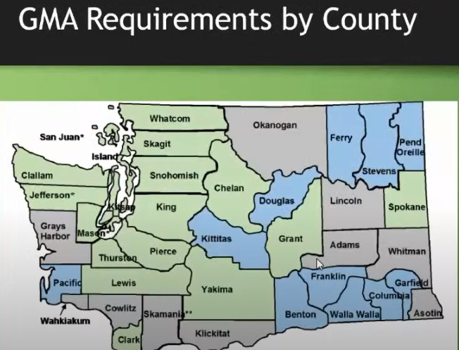 Growth Management Act map to show counties that are required to fully plan, have opted in to fully plan and Critical Area and Resource Land (CARL) counties.