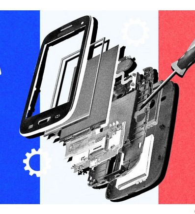 Exploded view of cell phone with screwdriver.