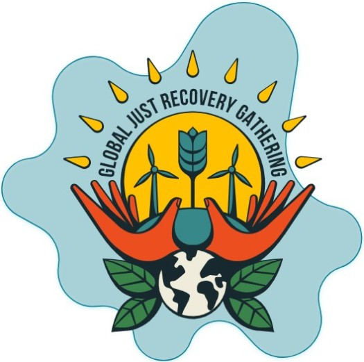 Global Just Recovery Gathering logo. Earth, hands, windmills.