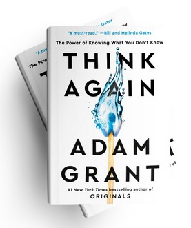 Think Again book cover. Adam Grant. A match burning with a blue flame.