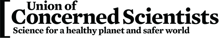 Union of Concerned Scientists. Science for a Healthy Planet and Safer World. With left brace symbol.