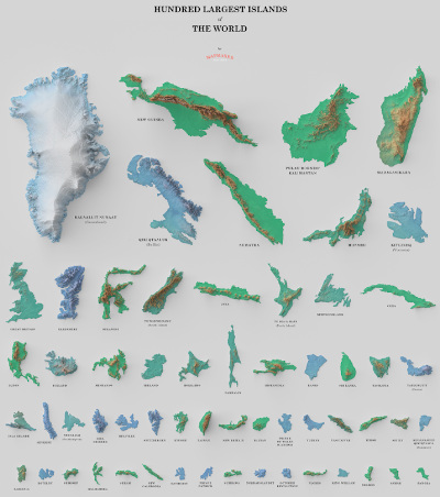 Visual of largest 100 islands.