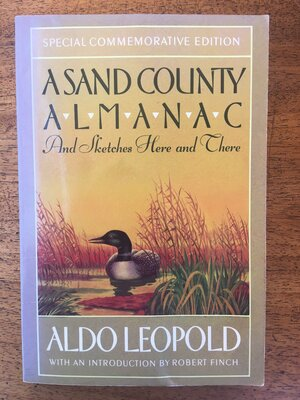 Cover of A Sand County Almanac. Drawing of a waterfowl in a marsh.