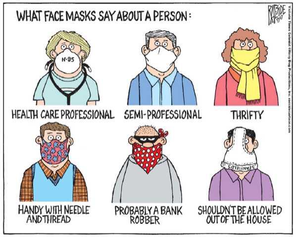 Six cartoon drawings about masks.
