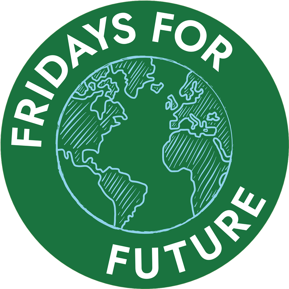 Fridays for Future. Name wrapped around sketched globe on green circle.