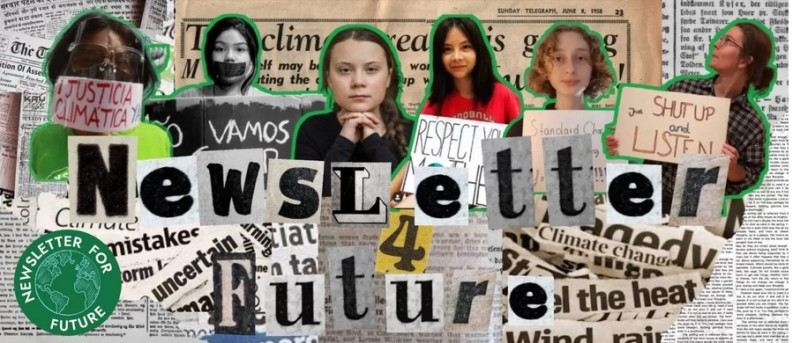 """Newsletter 4 Future Banner. """"Ransom"""" newsprint headline with Gretta and other young women activists."""