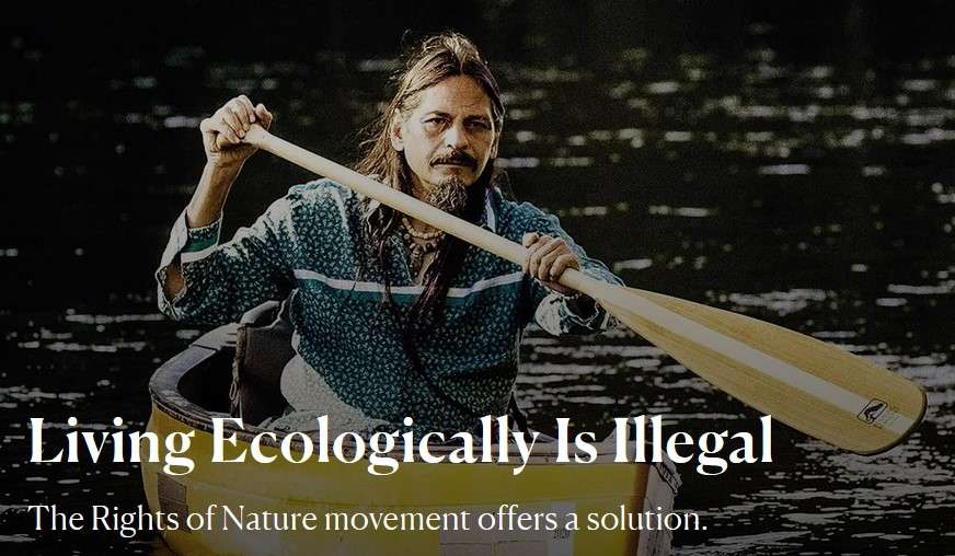 A man paddling a canoe. Living Ecologically is Illegal.