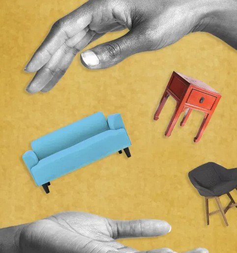 Representative Couch, Table, Chair- Falling from one open hand to another.