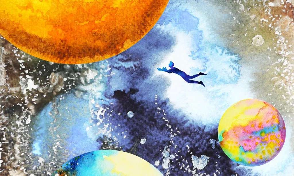 A human figure floating, reaching toward one of several planets in a busy space.