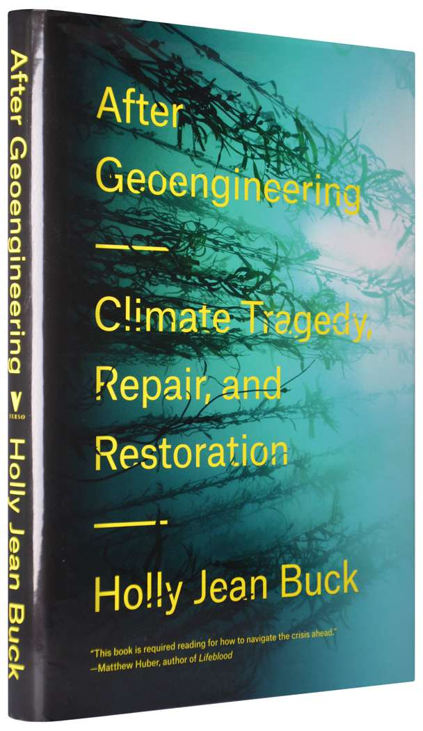 Book cover with sideways kelp forest. After Geoengineering - Climate Tragedy, Repair, and Restoration.