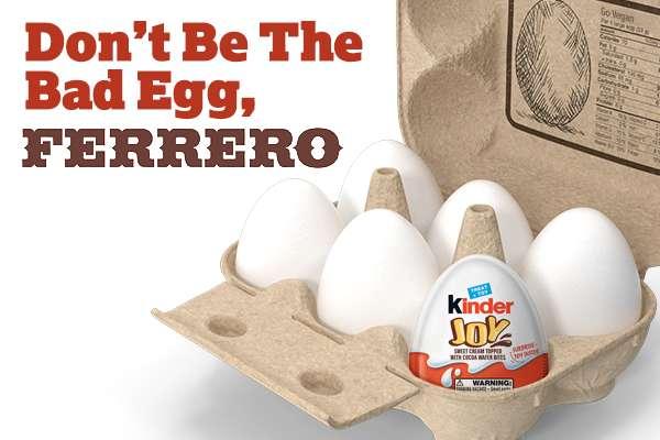 Don't Be the Bad Egg, Ferrero. Half-dozen eggs in a paper carton.