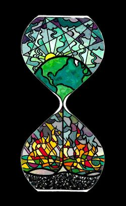 Stained-glass Hourglass with a green earth and sky above, and flames and cinders filtering below