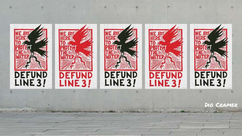 By Dio Cramer. Defund LIne 3! posters in alternating colors on a concrete wall.