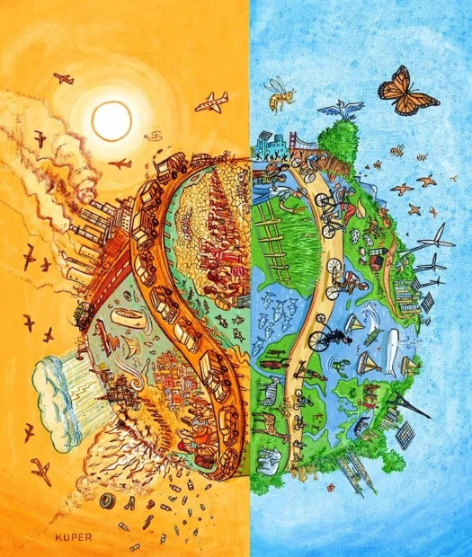 A rendition of earth options. Planes flying and storms raging on the left hemisphere and on the right, animals flying with bicycles on the road.