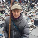 """Photo of Ed Fallon at a """"shoes"""" demonstration."""