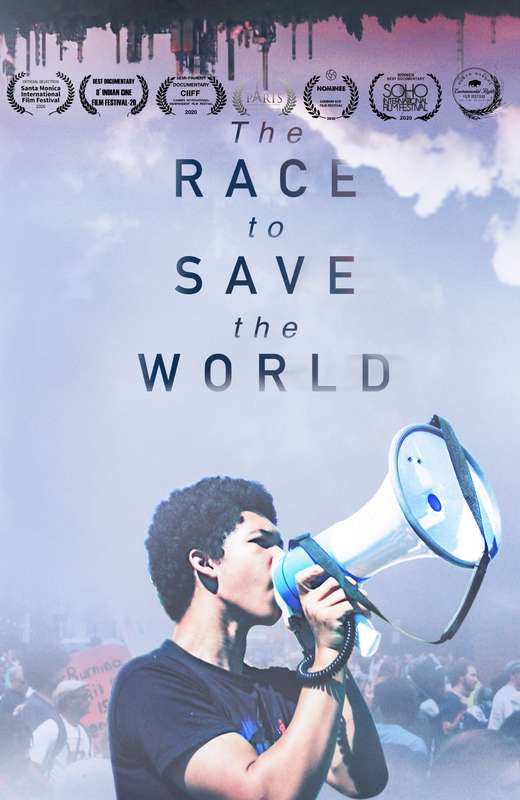 The Race to Save the World. Young black man speaking through a megaphone.