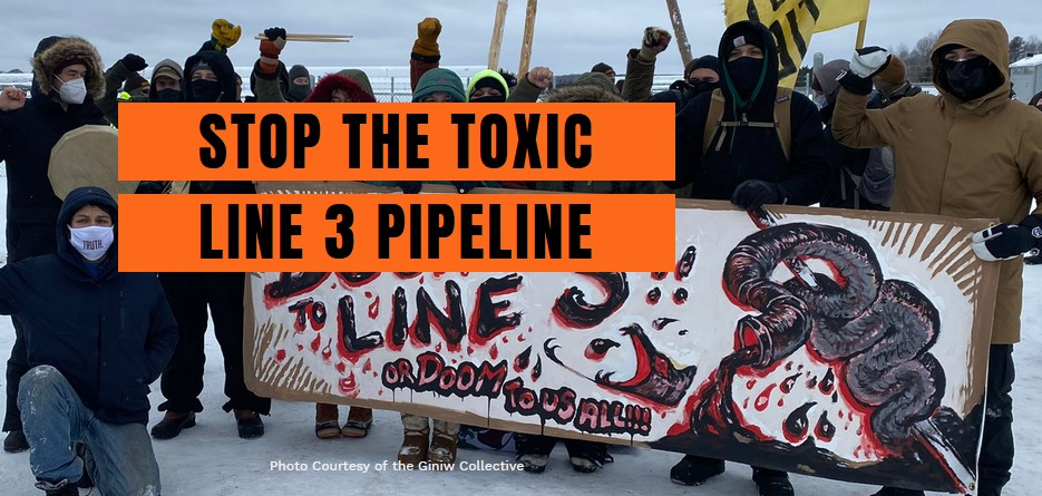 Stop the toxic Line 3 Pipeline. Bundled demonstrators in the snow, holding a banner.