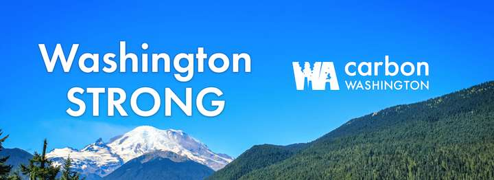 Washing STRONG Act-WA Carbon Washington. A blue and green mountain scene.