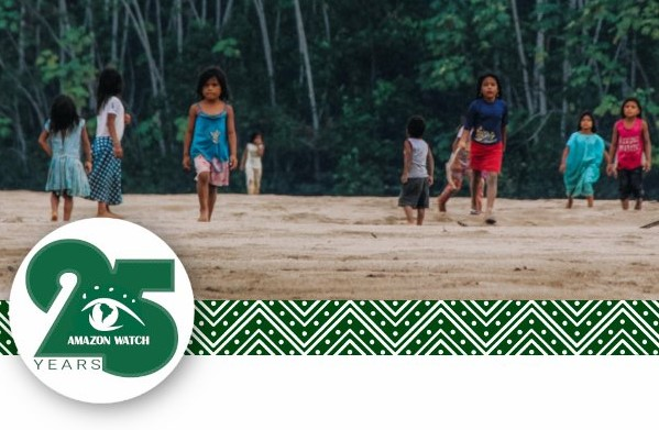 Amazon Watch 25 Years. Children on beach in front of forest.