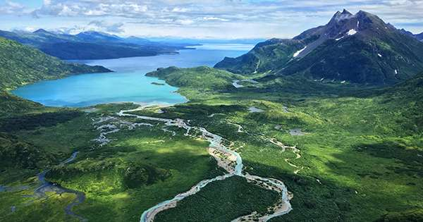An aerial view of Wood-Tikchik State Park in Bristol Bay, Alaska.
