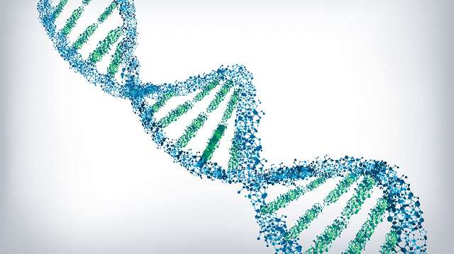Computer graphic image of DNA strand in Blue and Green.
