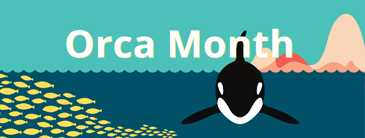 Orca Month. Cartoon Orca and fish in the sea.
