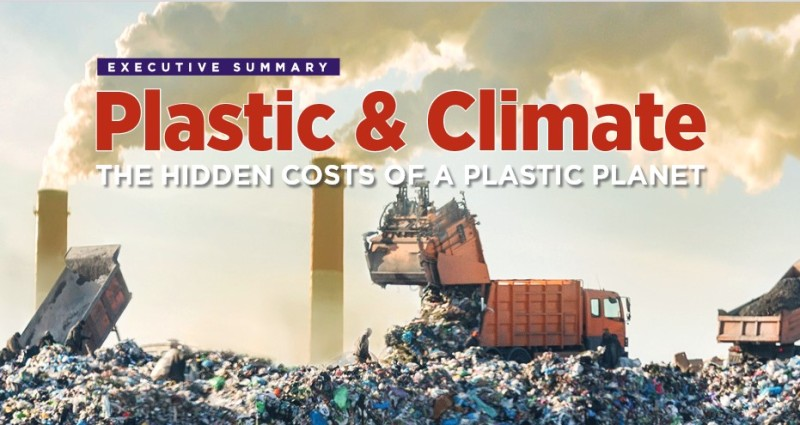 Plastic & Climate: The Hidden Costs of a Plastic Planet. Garbage trucks disgorging trash onto a massive pile, in front of smoking stacks.