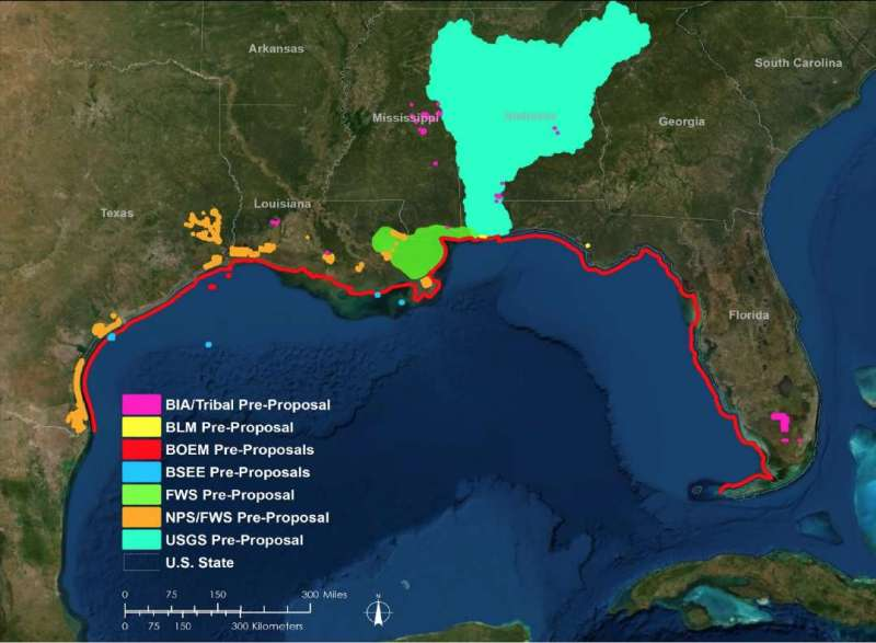 Map of Six Tribal youth projects. SW U.S. coastline and most of Alabama.