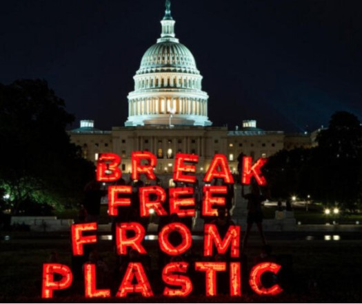 """Capital Building in background with """"Break Free From Plasctic"""" in foreground"""