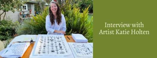 Interview with artist Katie Holten. Katie sitting outside, showing her tree typeface project.