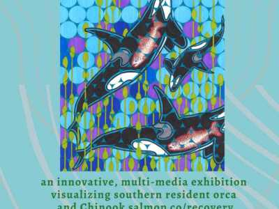 Submergence: Endangered Species Coalition. Geometrically surreal orca in sea Tableau.