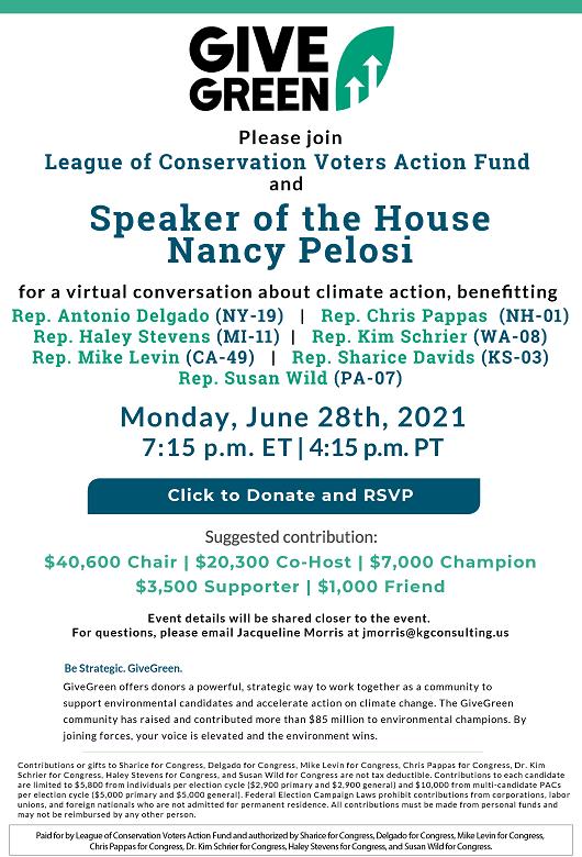 Give Green. With Speaker Nancy Pelosi.