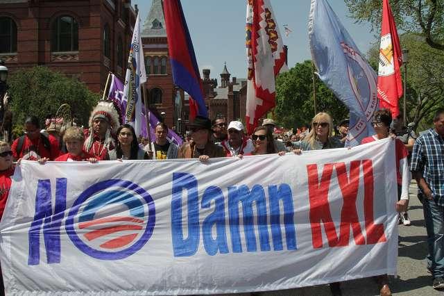 Demonstration Banner: No Damn KXL.